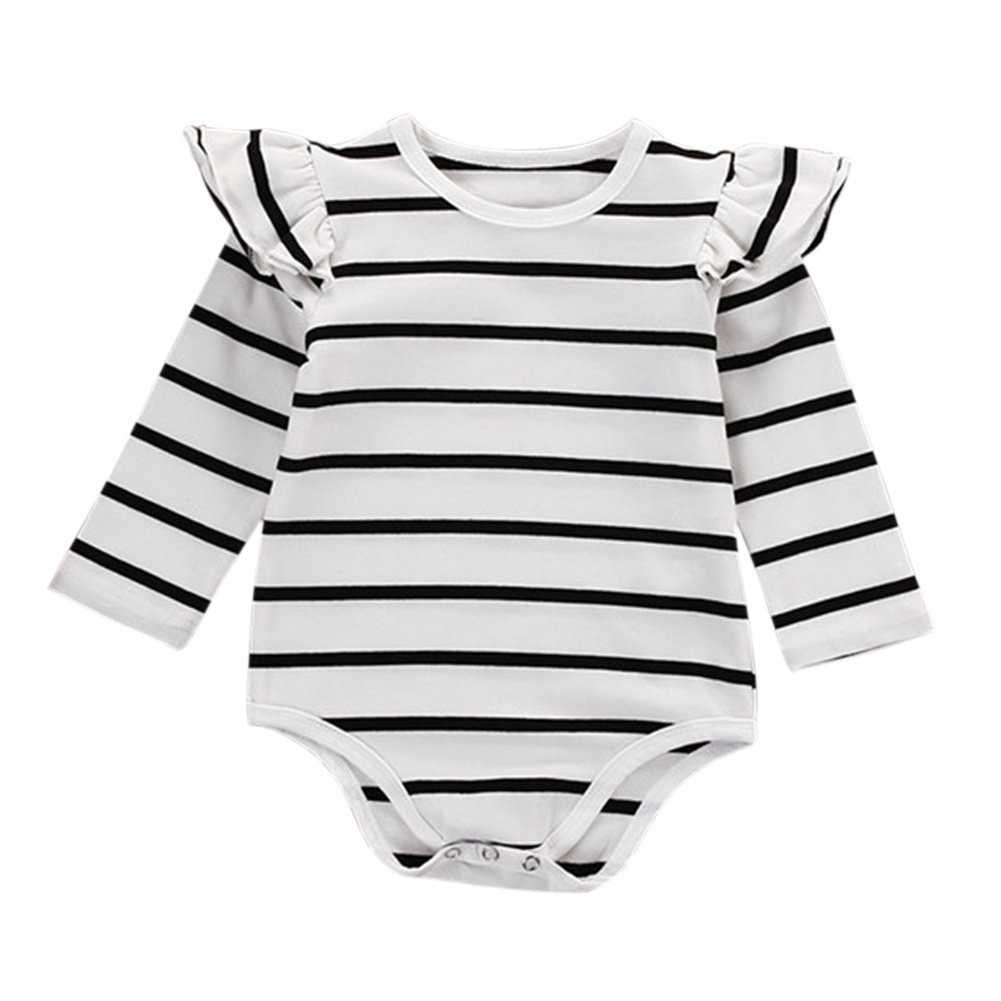 Brightup Baby Girl Long Sleeve Ruffles Romper Bodysuit with Stripe Print Outfit