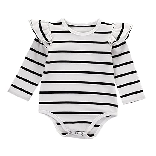 a38cb7a0ce9 Brightup Baby Girl Long Sleeve Ruffles Romper Bodysuit with Stripe Print  Outfit  Amazon.co.uk  Clothing