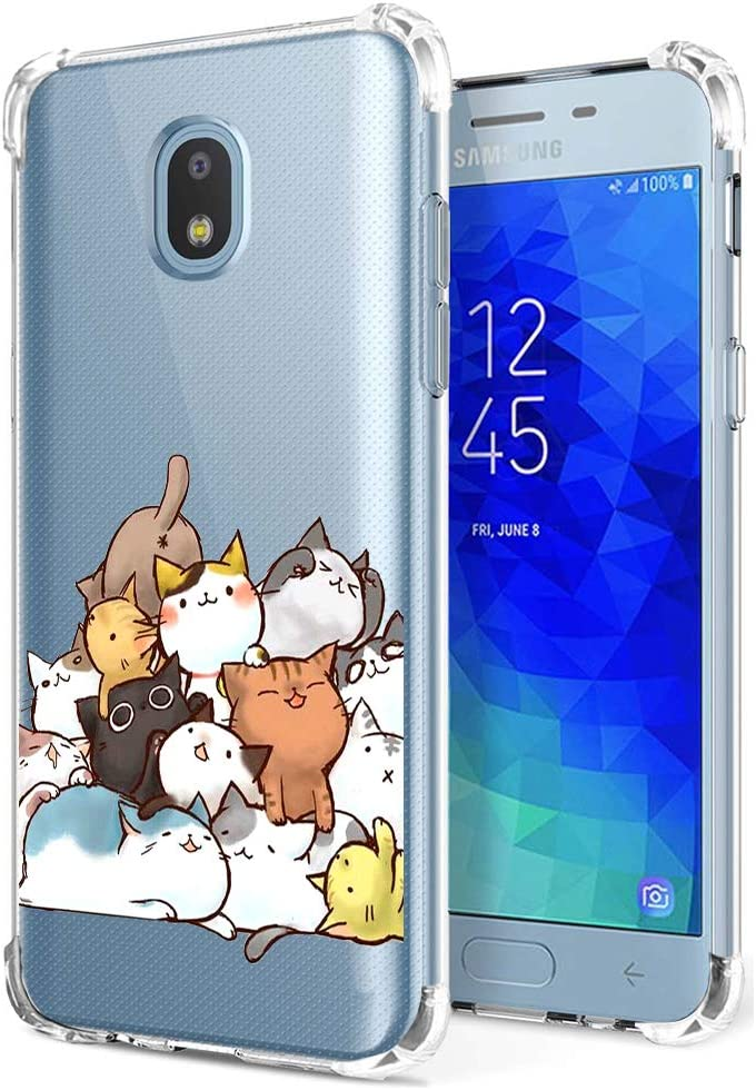 Galaxy J3 Orbit Case Clear with Cute Cat Design Shockproof Bumper Protective Slim Fit Rubber Back Cover for Samsung Galaxy J3 2018/ J3 Star/ J3 Achieve/Amp Prime 3/ J3 Express Prime 3/ J3 V/ J3 Aura