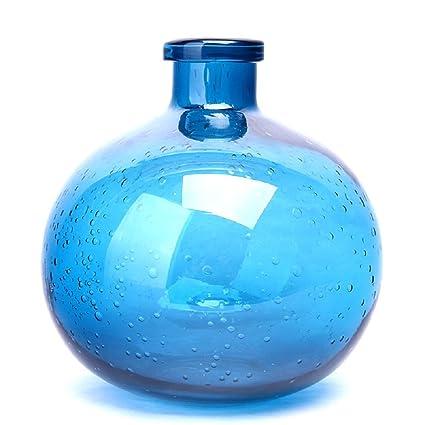 Arte de cristal soplado a mano de flores botella jarrón de cristal de color sólido (