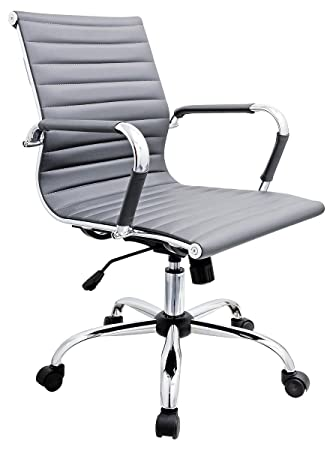 Febland Grey Eames Style Office Chair Faux Leather Amazoncouk