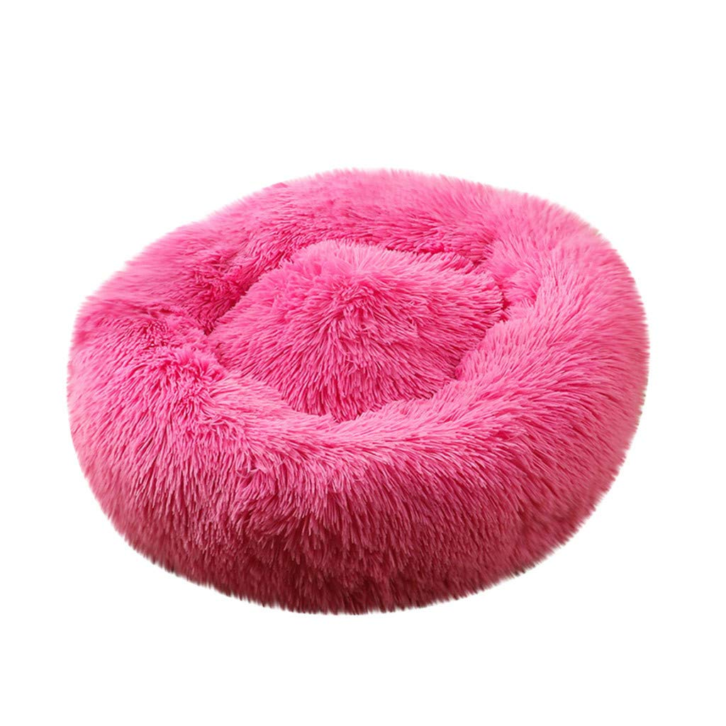 Pet Bed, Dog Cat Breathable Round Bed Winter Warm Sleeping Bag Long Plush Soft Pet Bed Calming Bed (Hot Pink, M) by Aritone - Pet