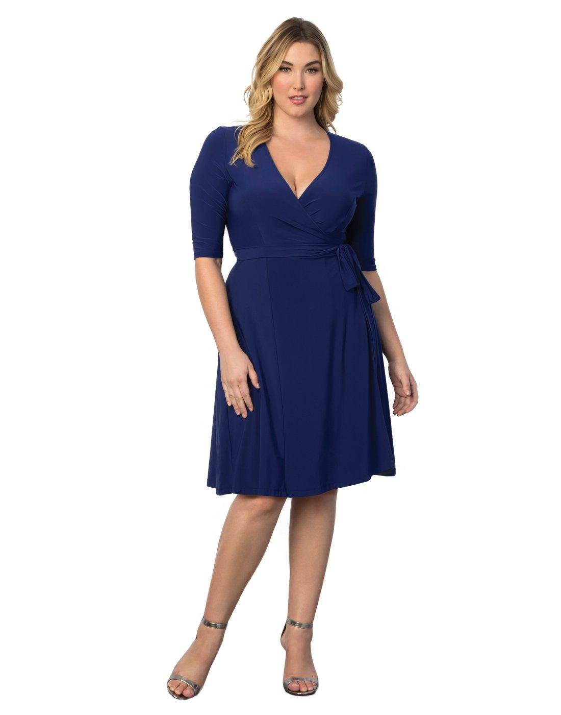 Kiyonna Women's Plus Size Essential Wrap Dress 0X Cobalt Blue by Kiyonna