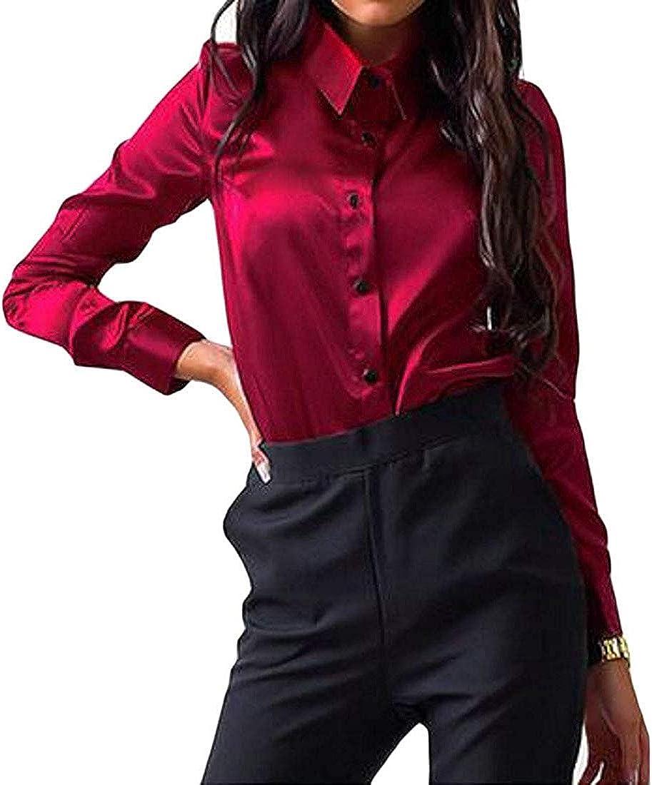SOWTKSL - Blusa de Manga Larga con Botones para Mujer, Color Rojo Vino Rojo Rojo Vino XXS: Amazon.es: Ropa y accesorios
