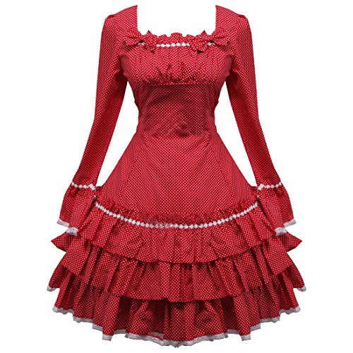 Rot Suesses Sweet Love Damen Lolita Kleider Partiss Langarm Applique TpnUx