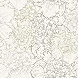 WallsByMe Peel and Stick White and Beige Floral Removable Wallpaper 1111-2ft x 8.5ft (61x260cm) - WallFab - 7mil