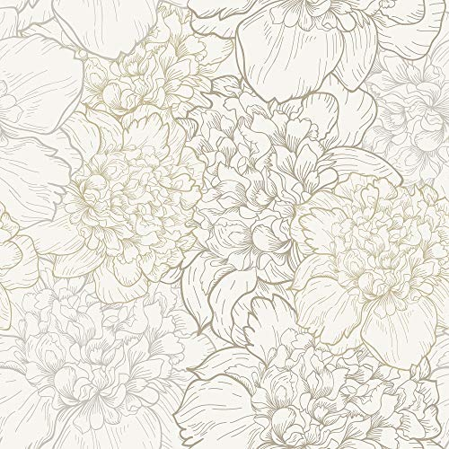 Wallpaper Beige Floral - WallsByMe Peel and Stick White and Beige Floral Removable Wallpaper 1111-2ft x 10.5ft (61x320cm) - WallFab - 7mil