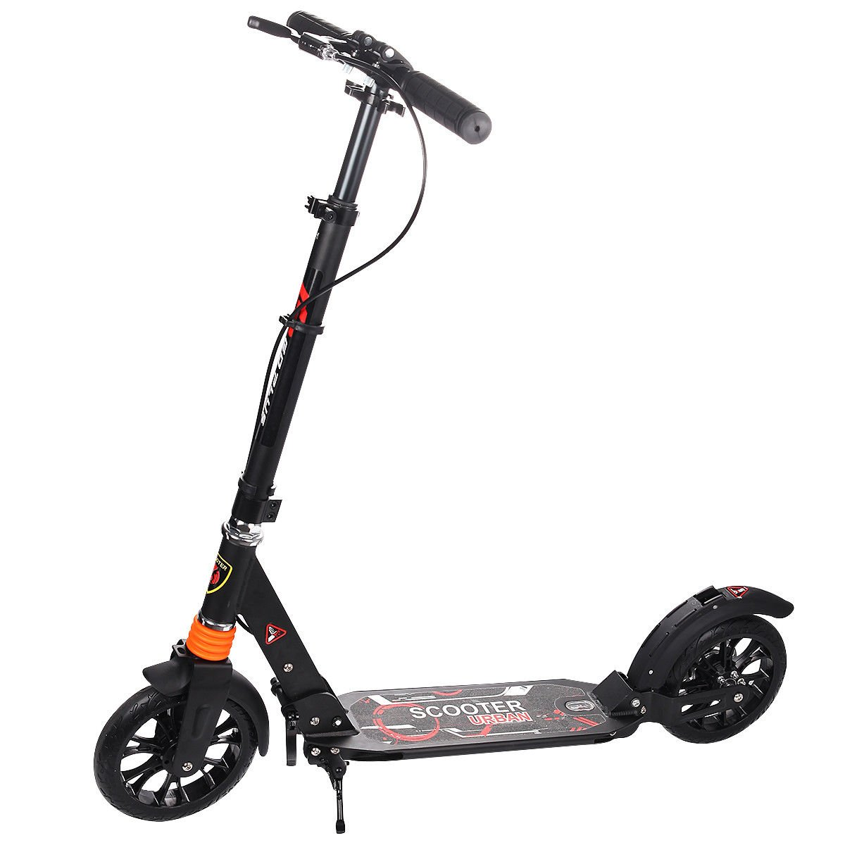 Goplus Folding Kick Scooter for Adult Teen Deluxe Aluminum 2 Big Rubber Wheels Glider Adjustable Height w/ Dual Suspension, 220lbs Capacity