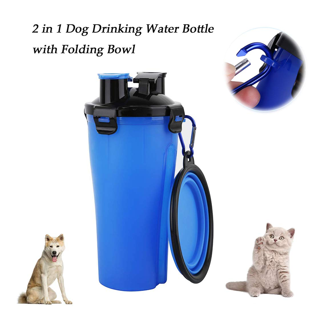 Pet Two Water Cups Single Cup + Single Bowl Multifunctional Portable 2 in 1 Water Bottle Food Container for Cat Dog Outdoor Travel (Two Sets) by LL dawn