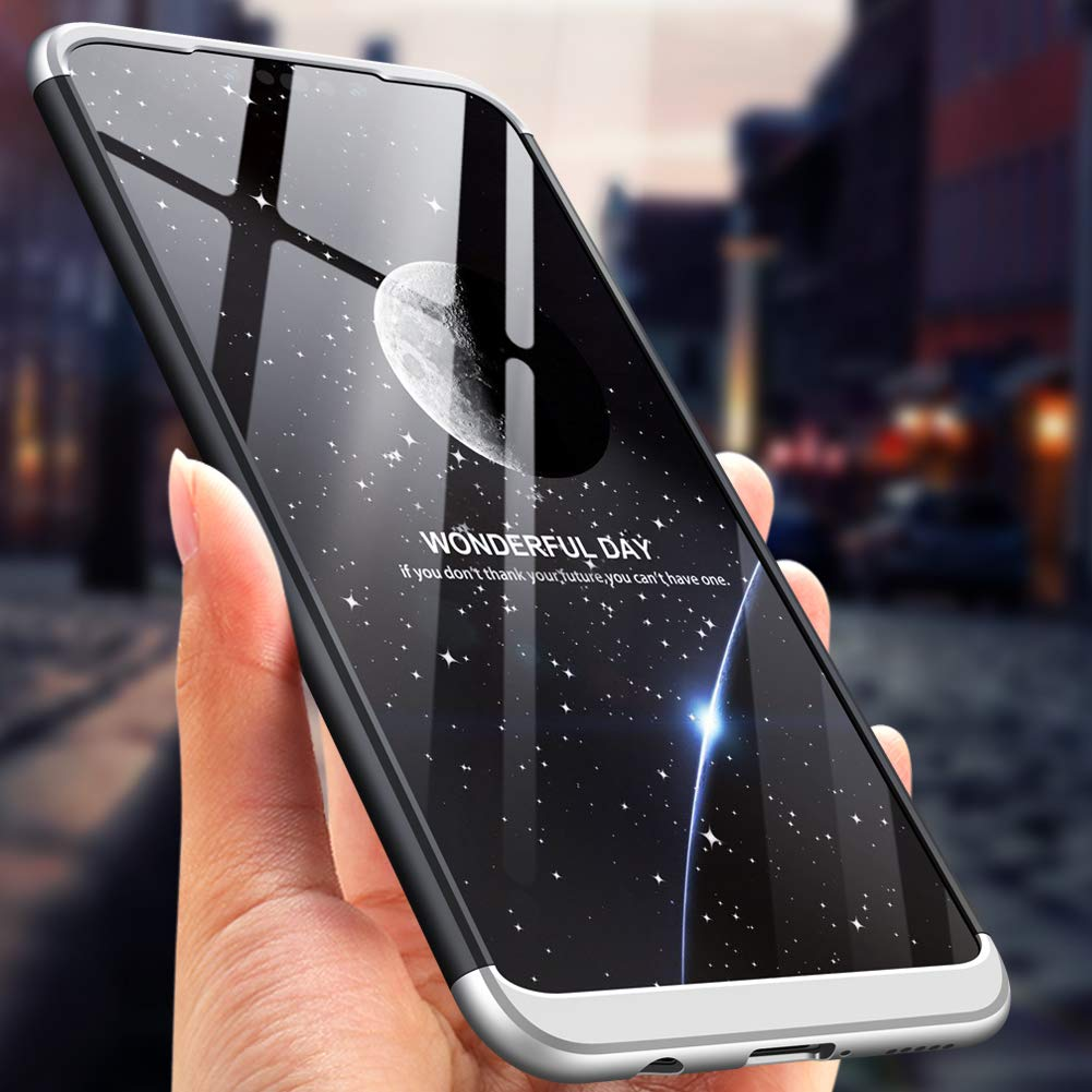 +Protector de Pantalla 2018 Azihone Compatible Samsung A40 Funda,360 Grados A Prueba de Choques Protecci/ón Cubierta 3 in 1 PC Hard Skin Carcasa Ultrafina Case Cover para Samsung A40 Plata Negro