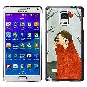 Be Good Phone Accessory // Dura Cáscara cubierta Protectora Caso Carcasa Funda de Protección para Samsung Galaxy Note 4 SM-N910 // Autumn Forest Painting Gray
