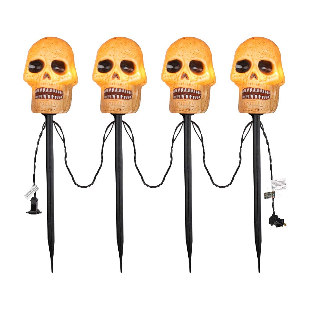 EAMBRITE 4PK Halloween Skull Pathway Markers Lights Outdoor Garden Creepy Stake Light Halloween Party Decoration by EAMBRITE