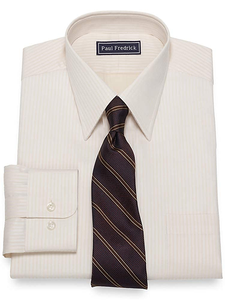 Vintage Shirts – Mens – Retro Shirts  Satin Stripe Button Cuff Dress Shirt Paul Fredrick Mens Slim Fit Cotton $74.50 AT vintagedancer.com