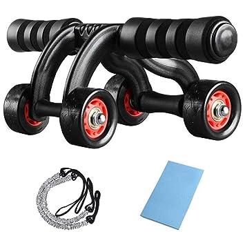 HXT Abdominal Trainer Roller 4 Wheels AB Rodillo Abdominal Roller AB Wheel con Bandas de Resistencia y tapete para Fitness Muscle Building Abdominal: ...