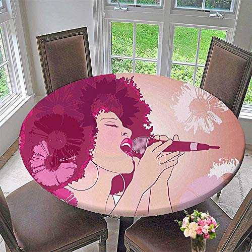 Mikihome Round Tablecloth Woman Singing Jazz Songs on Exotic Floral Background Performance Art Magenta Peach Coral for Kitchen 47.5