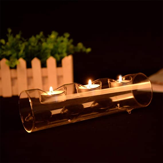 COODIO Stylish Crystal-Like Glass Tube-Shape Candle Holder Romantic Candlestick Home Cafe Wedding Candlelight Dinner Decoration Four Holes