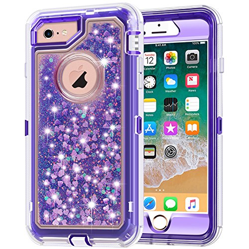 iPhone 6S Case, iPhone 6 Case, Anuck 3 in 1 Hybrid Heavy Duty Defender Case Sparkly Floating Liquid Glitter Protective Hard Shell Shockproof TPU Cover for Apple iPhone 6/iPhone 6S 4.7 - Purple