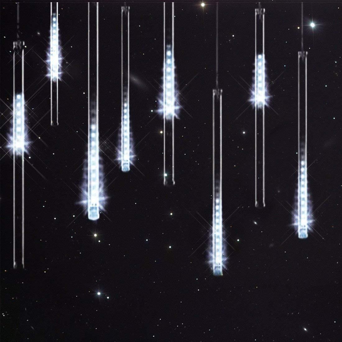 ABelle Bianco Meteor Doccia Pioggia Luci Impermeabili Della Corda Per Festa di Nozze Decorazione Dell\'Albero di Natale di Natale 30 Centimeter 8 tubo Luci Natalizie Per Esterni