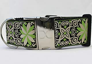 "product image for Diva-Dog 'Pinwheel Dutch Spring' 2"" Extra Wide Custom Engraved Dog Collar"