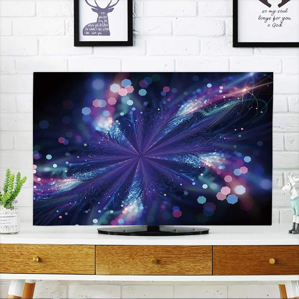 PRUNUS Dust Resistant Television Protector Glowing Magic Star Fractal,Computer generated Abstract Background tv dust Cover W32 x H51 INCH/TV 55''