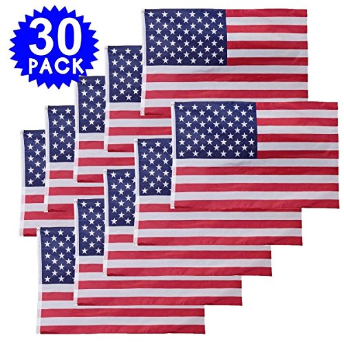 Generic NV_1008000861_YC-US2 mmetsUSA Flag Sewn Stripes . Ame 30PC 3' x 5' FT Flag Polyester Stars Stri USA US U.S. American olyes Grommets 30PC (Ames Stripe)