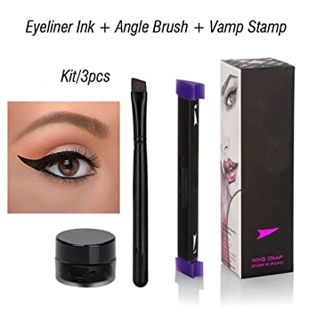Searchall Vamp Stamp Eyeliner Complete Set Kit Easy To Makeup Eye Wing Liners 3 In 1 Liquid Long Lasting Drawing Eyeliners Stamps 1 Second Make Up