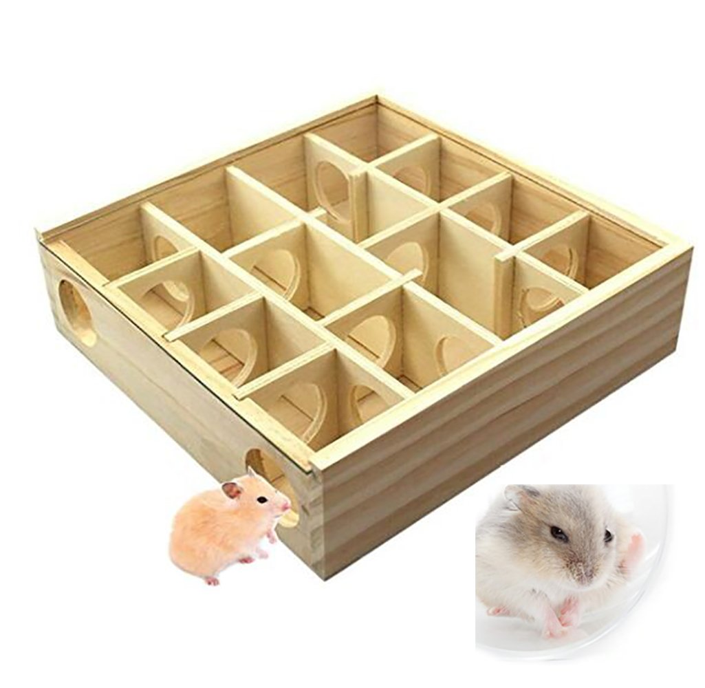 Pet Wooden Hamster Maze Tunnel Toy with PVC Cover - 9.8x9.8'' Small Animal Playground, Wood Activity Sport Hut House Cage for Pet Dwarf Hamster/Gerbil/Cricetulus/Other Small Furry Animals