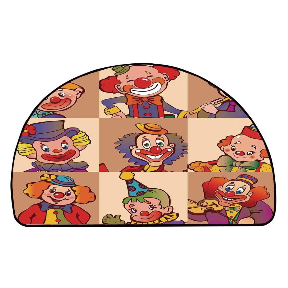 C COABALLA Circus Decor Comfortable Semicircle Mat,Funny Clowns Illustration Entertaining Childhood Artistic Joke Enjoyment for Living Room,11.8'' H x 23.6'' L