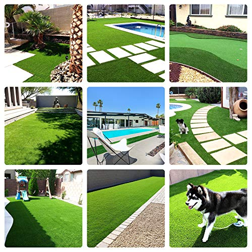 WMG Premium Artificial Grass 20''x24'' Pet Turf w/Drainage Holes & Rubber Backing Green Synthetic Pet Grass Mat Fake Grass for Training Dogs Home Indoor/Outdoor Decorations, 1 Pack...