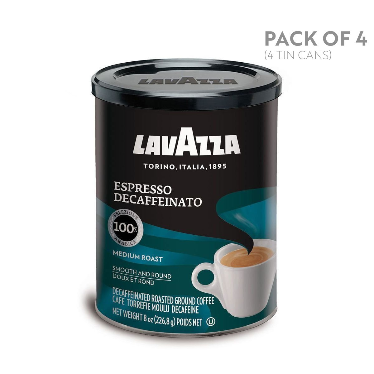 Lavazza Espresso Decaffeinato Ground Coffee Blend, Decaffeinated Medium Roast, 8-Ounce Cans (Pack of 4) by Lavazza (Image #1)