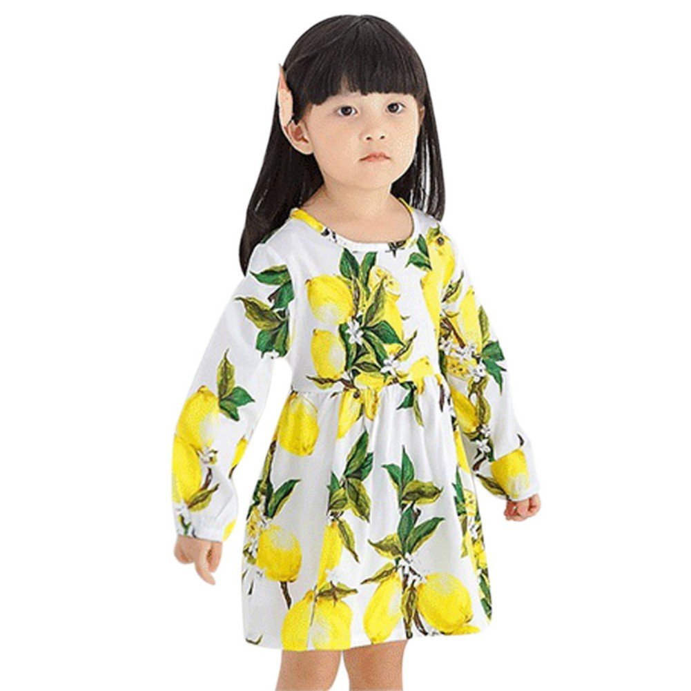 Zhengpin Vogue Baby Girls Long Sleeve Dress Lemon Printed Kid Party Dresses