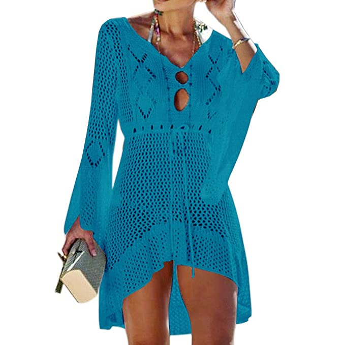 c0392955eb9a Tacobear Mujer Pareos Playa Traje de Baño Verano Vestido de Playa Sexy  Bikini Cover up Camisola de Playa Túnica de Punto