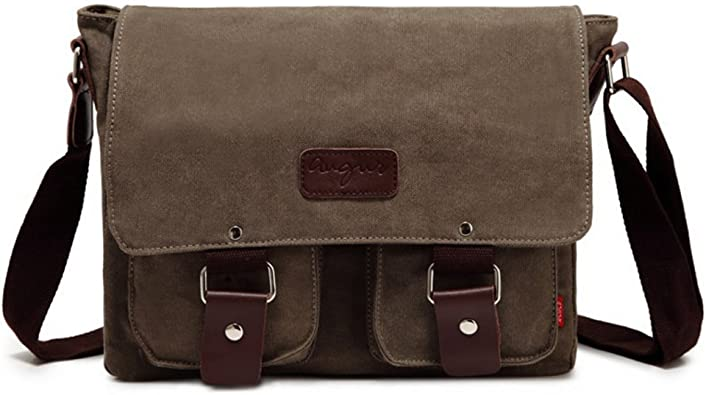 AUGUR Small Canvas Vintage Shoulder Bag Multi-Pockets Crossbody Business Messenger Bags Sling Shoulder Backpack Travel Portfolio Bag for Men