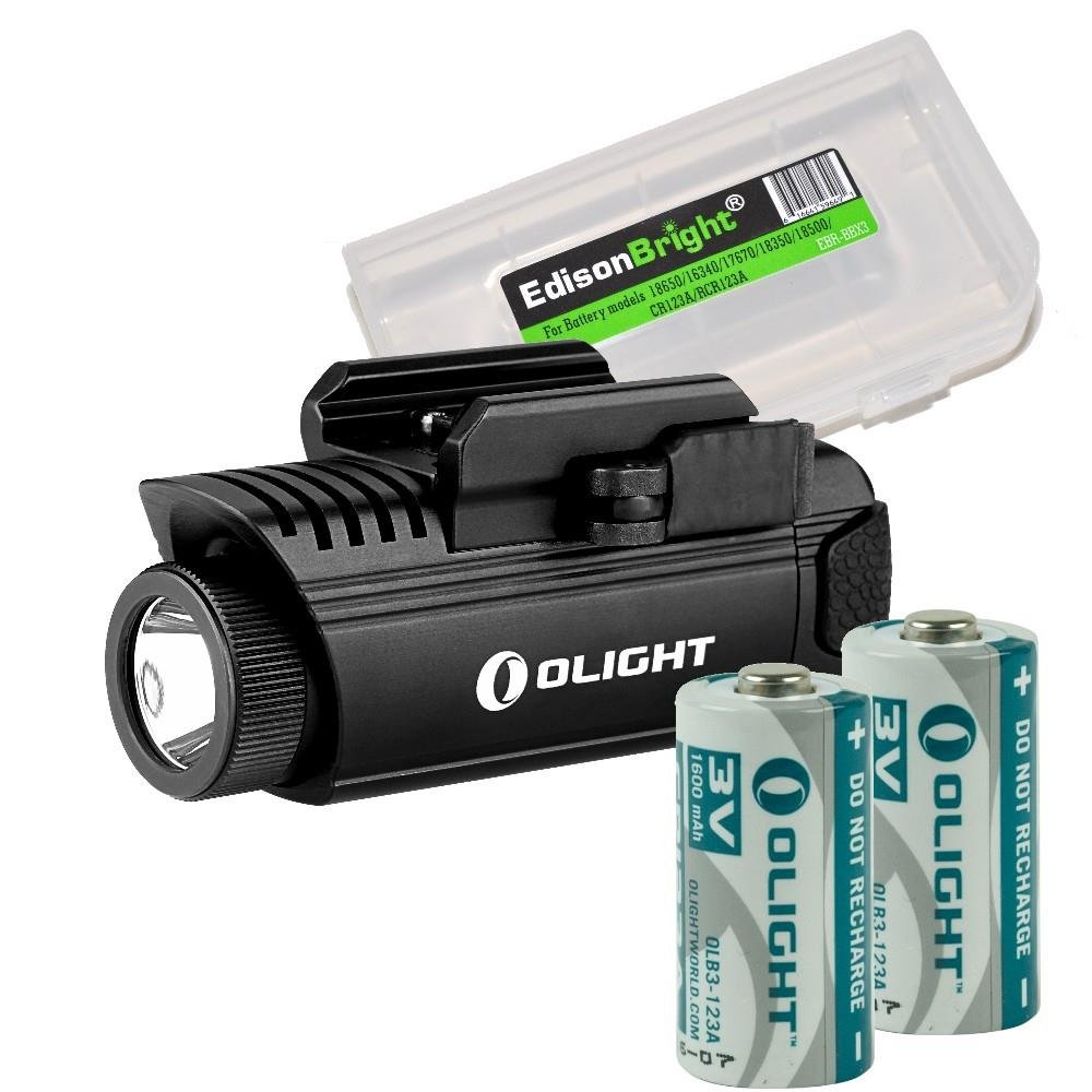 EdisonBright Bundle: Olight PL1 II Valkyrie 450 lumen LED weapon mounted light with 2 X Olight CR123 lithium batteries and battery carry case