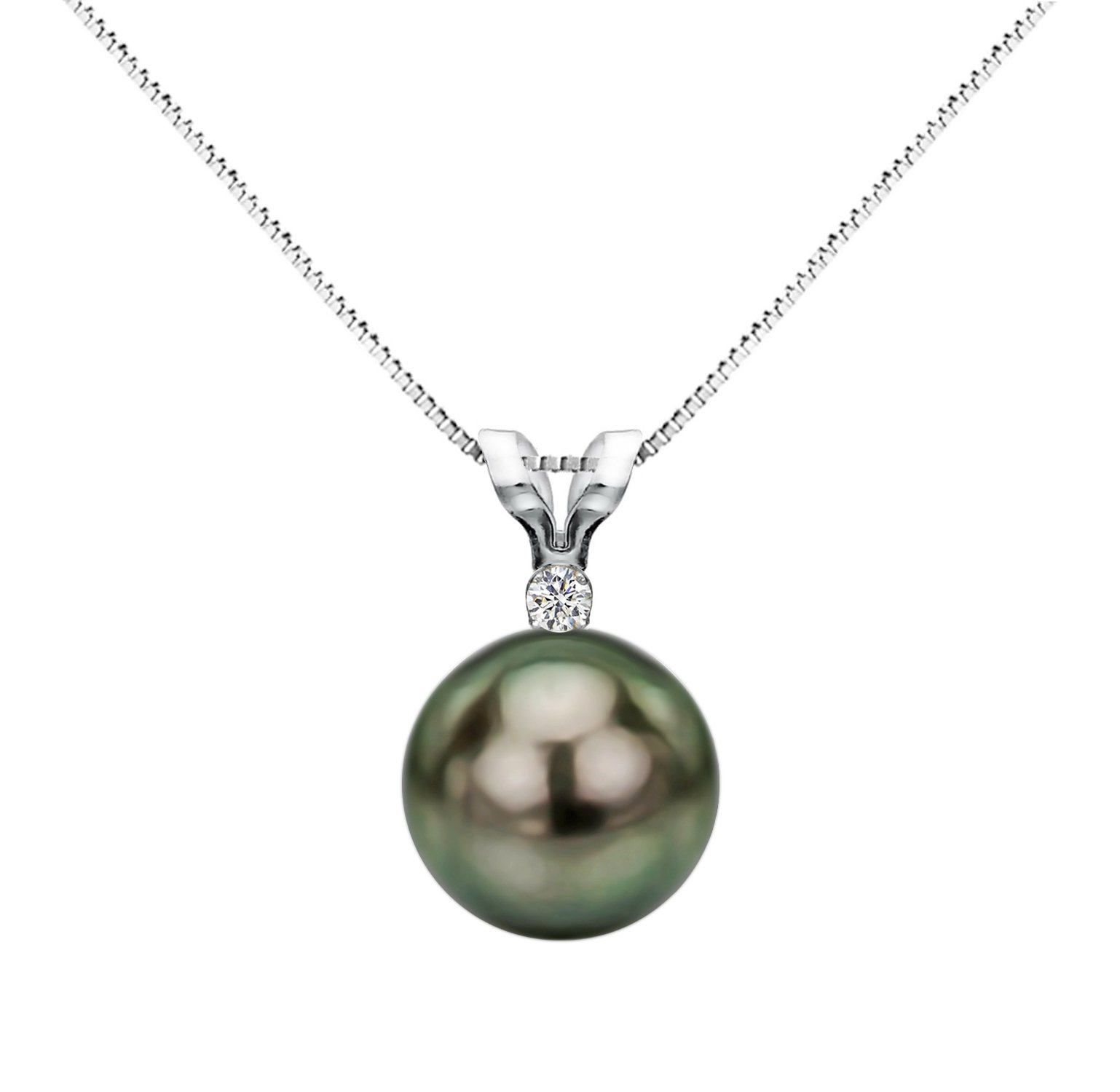 14k White Gold 1/100cttw Diamond Pendant Necklace South Sea Tahitian Cultured Pearl Jewelry AAA 8-8.5mm