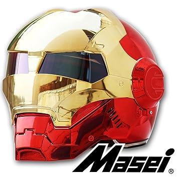 Masei casco de Iron Man Cool Motocicleta Casco de seguridad rojo/oro cromado