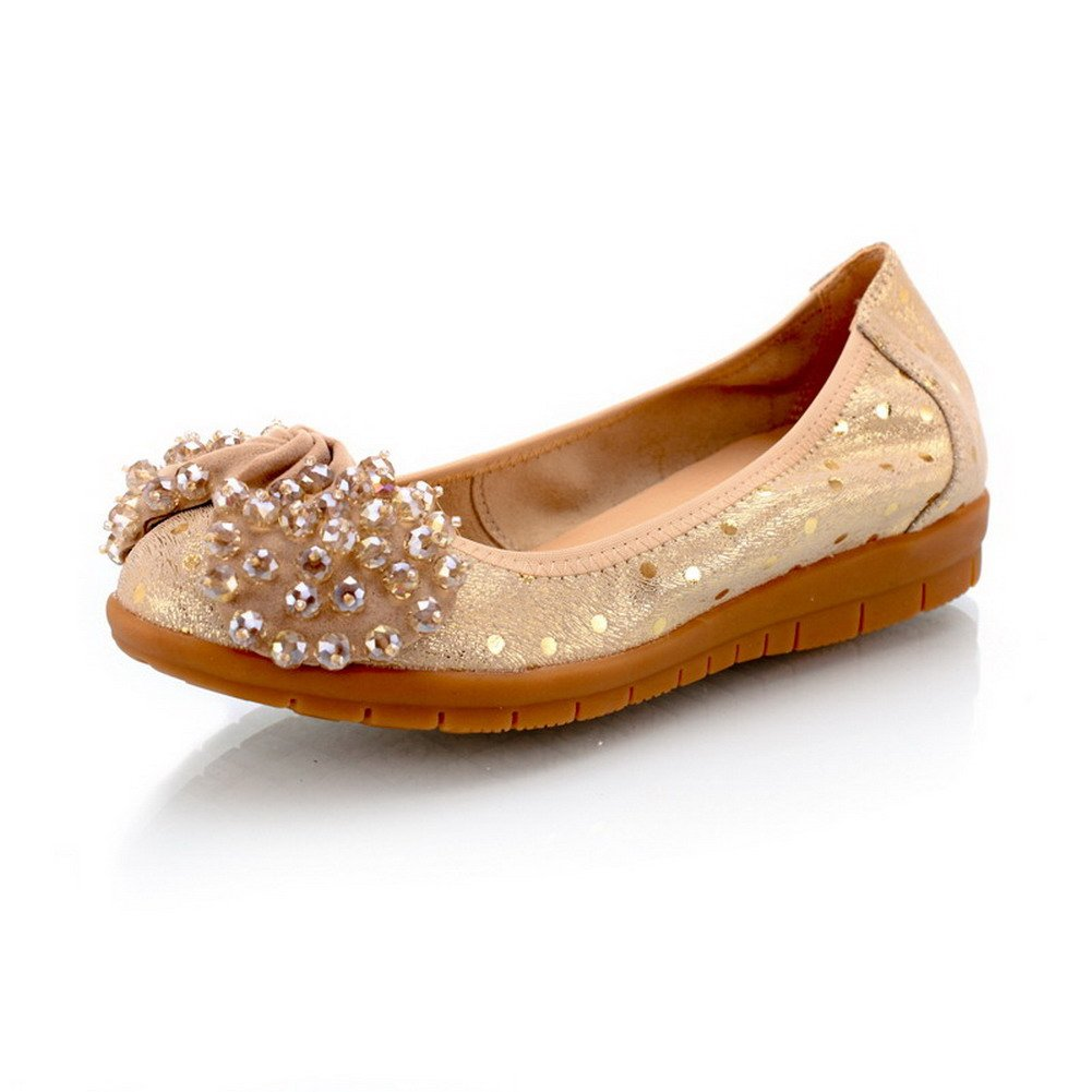VogueZone009 Womens Closed Toe Round Toe Flats Cow Leather Soft Material Solid Flats Glass Diamond, Gold, 7.5 B(M) US