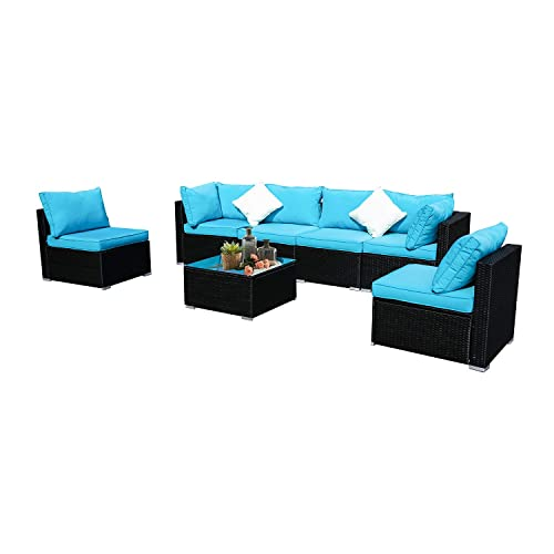 Patio Furniture PE Brown Rattan Sofa Set 2pcs Middle Sofa Garden Wicker Sectional Sofas Conversation Sets-Easy Assembled Royal Blue Cushion