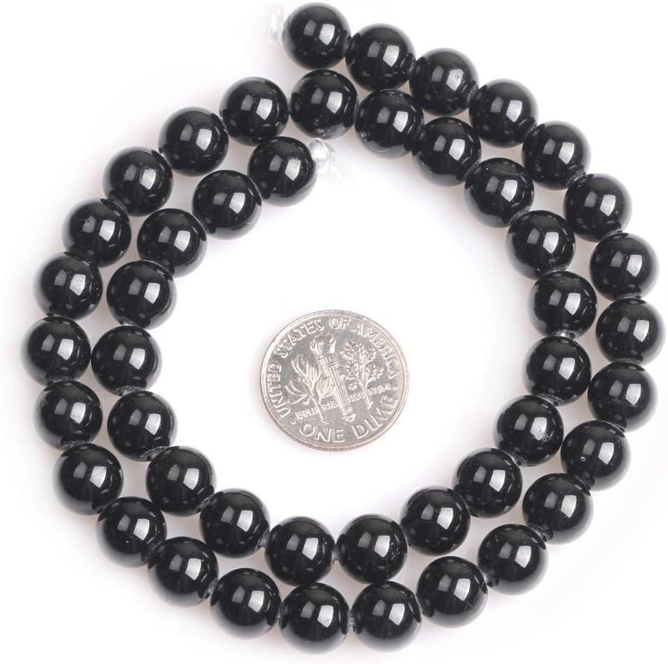 Shgbeads tormalina nera naturale della pietra preziosa sciolto perline per creare gioielli rotondo 6/mm grande foro 1.5/mm 38,1/cm 8 mm 8mm Black