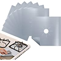 Antallcky 8-Pack Silver Stove Burner Covers Gas Range Protectors Gas Cooktop Liner Cover Clean Mat Pad,Reusable, Non…