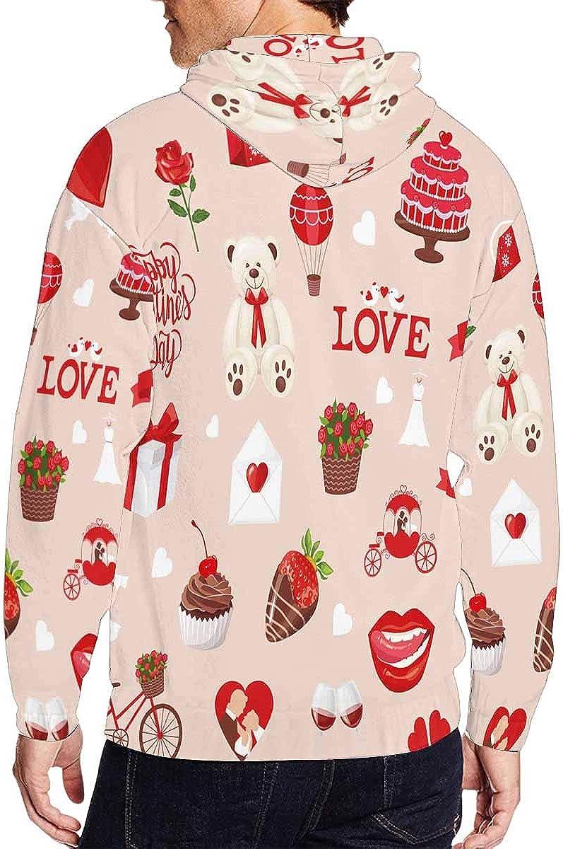 INTERESTPRINT Mens Full Zip Hoodies Heart Valentine Day XS