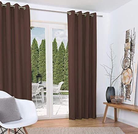 Axgthqe Rideau Occultant Brown 2 Pieces Rideau Avec Galon
