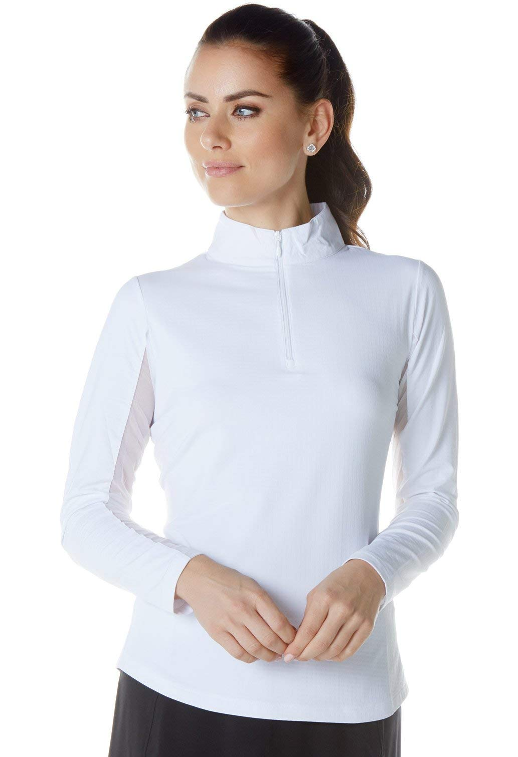 Solid Mock Neck Top - 80000 (XS, White)	 by IBKUL