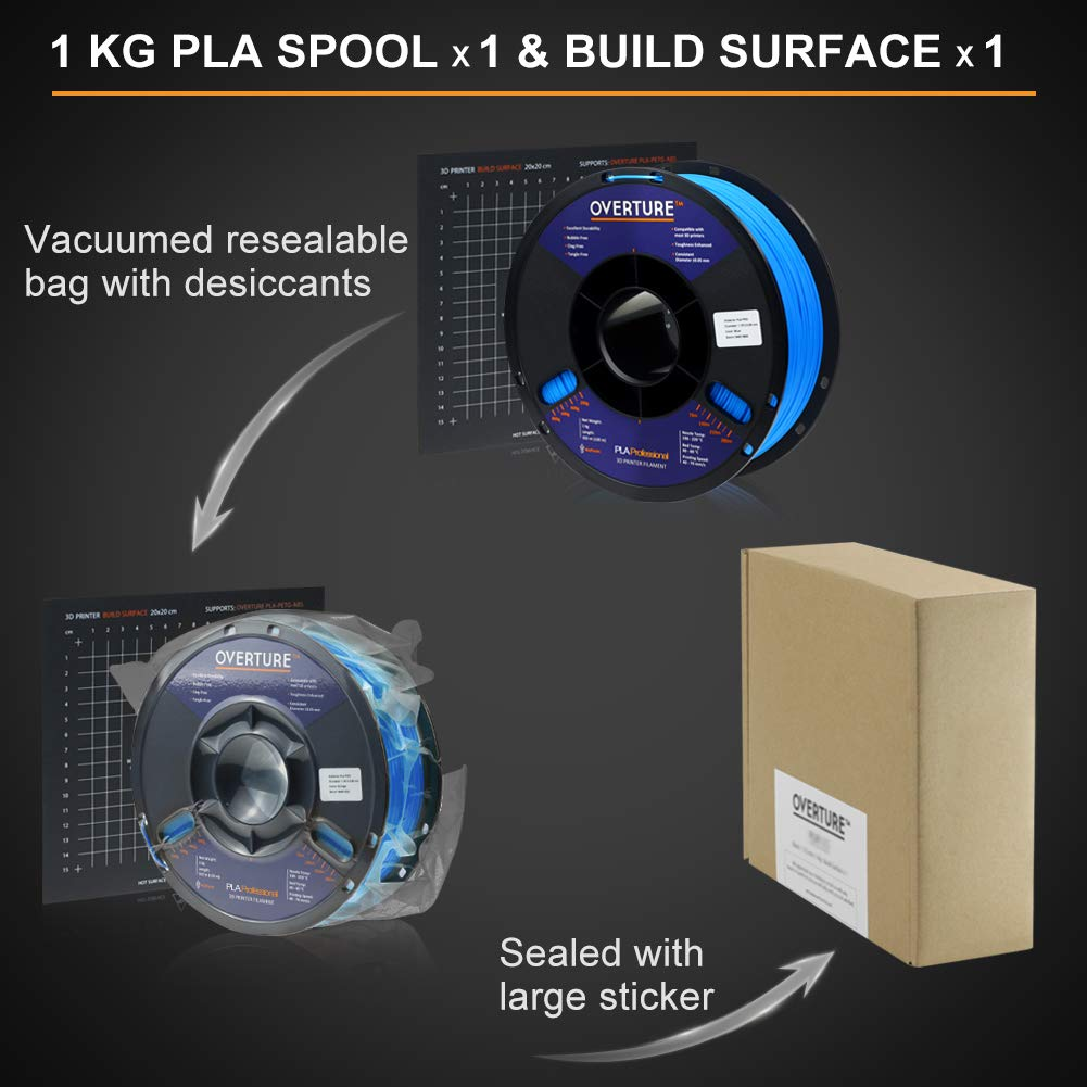 Filament 1.75mm PLA Professional Toughness Enhanced PLA Roll with 3D Build Surface 200 /× 200mm Overture PLA Plus PLA+ 2.2lbs Light Gray Premium PLA 1kg Spool Dimensional Accuracy +//- 0.05 mm