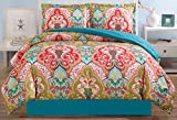 Purple and Turquoise Duvet Cover 3-Piece Fine printed Duvet Cover Set QUEEN SIZE - 1500 series high thread count Brushed Microfiber - Luxury Soft, Durable (Turquoise Blue, Sage Green, Orange, Terra cotta Red)