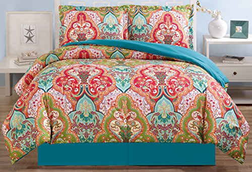 4-Piece Fine printed Oversize Comforter Set Reversible Goose Down Alternative Bedding KING Size (Turquoise Blue, Sage Green, Orange, Terra cotta Red) (Turquoise Red Bedding)