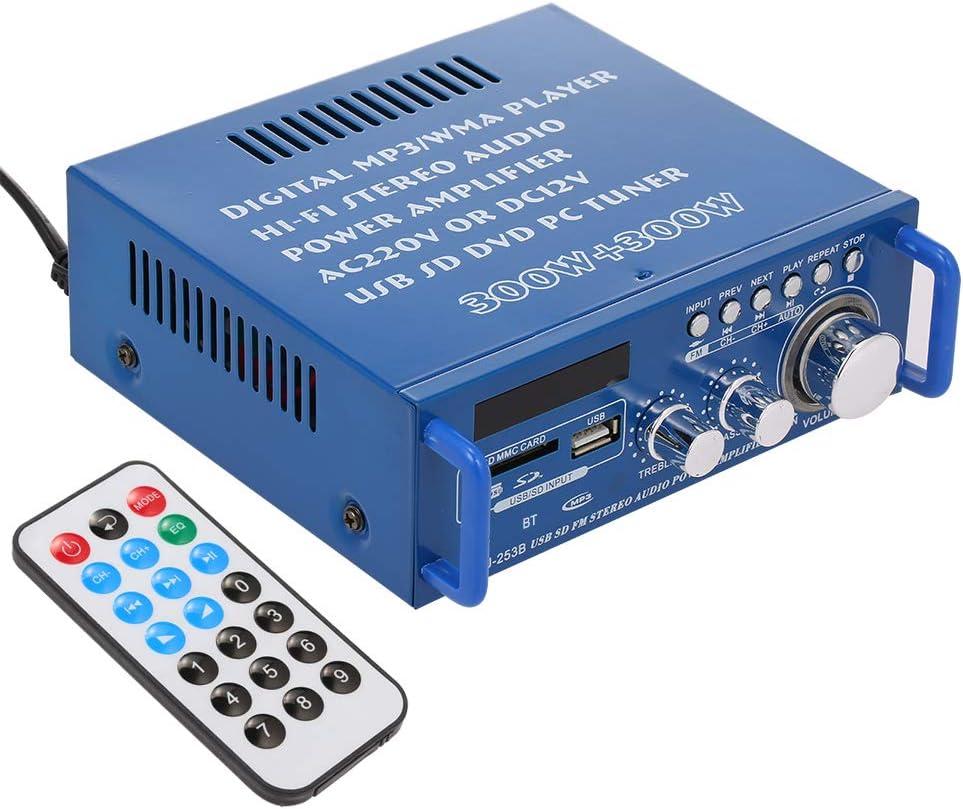 Docooler 12 V/220 Vamplificador de potencia audio BT de audio digital AMP USB ranura SD MP3 Radio FM pantalla LCD con mando a distancia de dos canales 300 W + 300 W para uso domésti