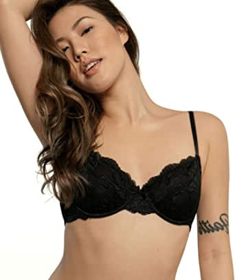 DORINA Women's Flirty Lace T-Shirt Bra Lianne D17163A - 3/4 Cup Coverage Padded Moulded Cups
