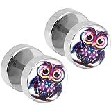 1 Paar Ohrstecker Fakeplugs Fake Plug Tunnel Piercing Ohrring Ohr 19 Motive Bunt Stern Weihnachten Eule Teufel Blumen