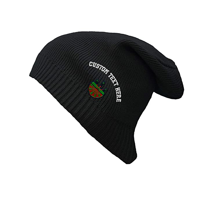 2663383b03c Custom Text Embroidered Sport Darts Target Logo Embroidery Unisex Adult  Organic Cotton Slouch Beanie Skully Hat